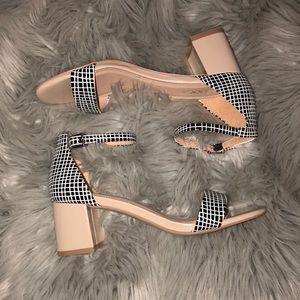 Anthro Mixx Sally nude sandals block heels 7.5